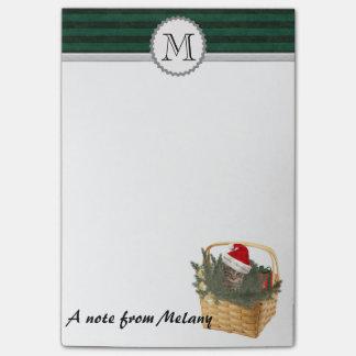 Funny cute girly Holiday santa cat monogram Post-it® Notes