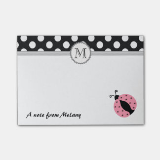 Funny cute girly ladybugs polka dots monogram post-it notes