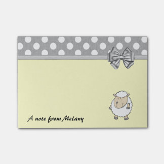 Funny cute girly sheep polka dots monogram post-it notes