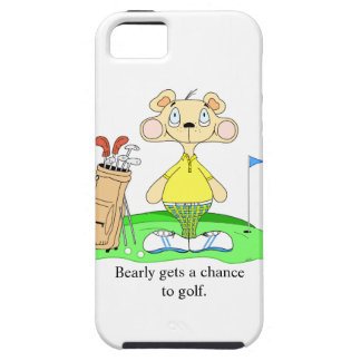 Funny Cute Golfing Bear iPhone 5/5S case