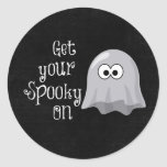 Funny, Cute Halloween Ghost; Get your Spooky On Round Stickers
