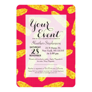 Funny Cute Hand Drawn Corn on the Cob on Neon PInk 13 Cm X 18 Cm Invitation Card