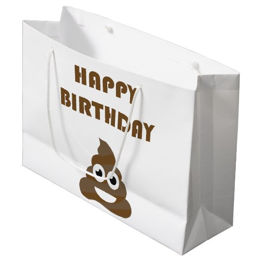 Funny Cute Happy Birthday Party Poop Emoji Large