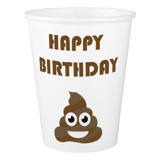 Funny Cute Happy Birthday Party Poop Emoji Paper Cup