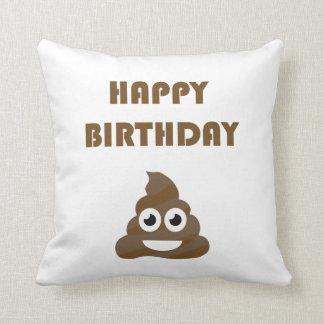 Funny Cute Happy Birthday Party Poop Emoji Throw Pillow