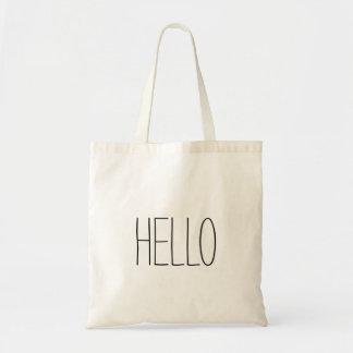 Funny cute hello hi slogan budget tote bag