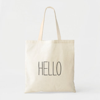 Funny cute hello hi slogan tote bag