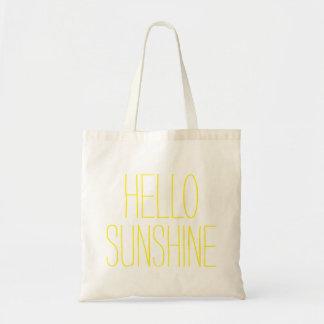 Funny cute hello sunshine hi slogan budget tote bag