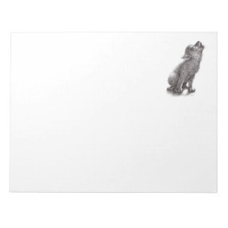 Funny Cute Howling Wolf Notepad