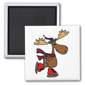 Funny Cute Ice Skating Moose Cartoon Square Magnet