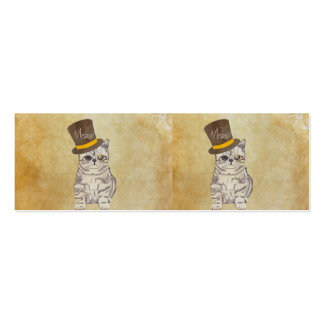 Funny Cute Kitten Cat Sketch Monocle and Top Hat Pack Of Skinny Business Cards