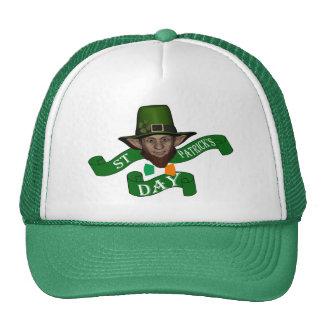 Funny cute leprechaun St Patrick s day Mesh Hats