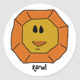 Funny, Cute lion face Round Stickers