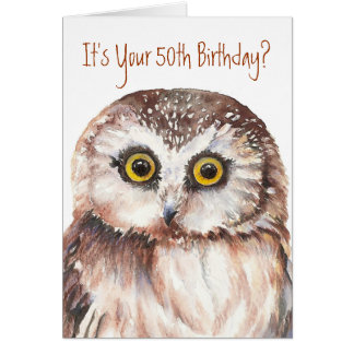 Funny-Cute Little Owl, 50th Birthday Card