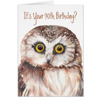 Funny-Cute Little Owl, 90th Birthday Card