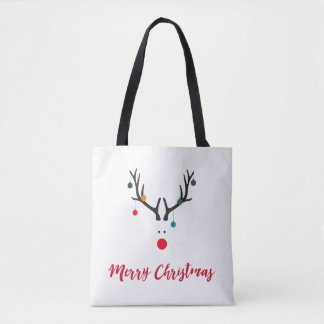 Funny cute minimalist Christmas reindeer on white Tote Bag