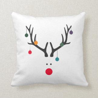 Funny cute minimalist reindeer on white cushion