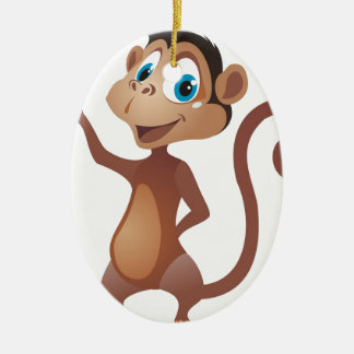 funny cute monkey ceramic oval decoration