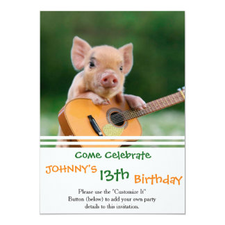 Funny Cute Pig Playing Guitar 13 Cm X 18 Cm Invitation Card