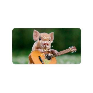 Funny Cute Pig Playing Guitar Address Label