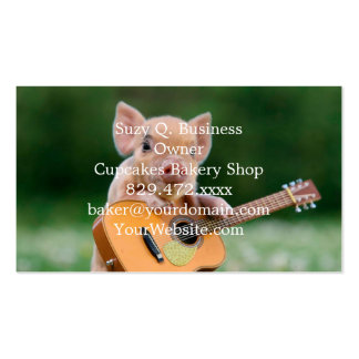 Funny Cute Pig Playing Guitar Pack Of Standard Business Cards