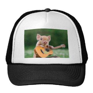 Funny Cute Pig Playing Guitar Cap