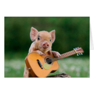 Funny Cute Pig Playing Guitar Greeting Card
