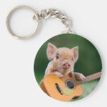 Funny Cute Pig Playing Guitar Basic Round Button Key Ring