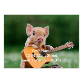Funny Cute Pig Playing Guitar Pack Of Chubby Business Cards