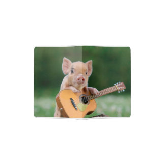 Funny Cute Pig Playing Guitar Passport Holder