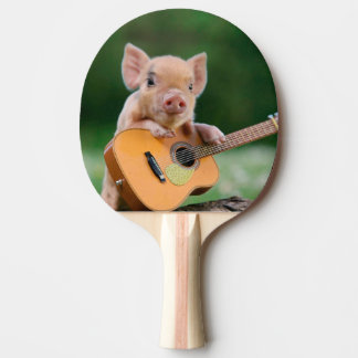 Funny Cute Pig Playing Guitar Ping Pong Paddle