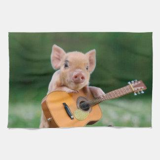 Funny Cute Pig Playing Guitar Tea Towel