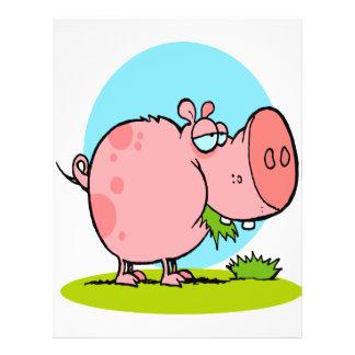funny cute piggy pig eating grass cartoon 21.5 cm x 28 cm flyer