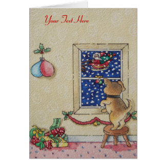 Funny cute puppy and father Christmas sleigh Card