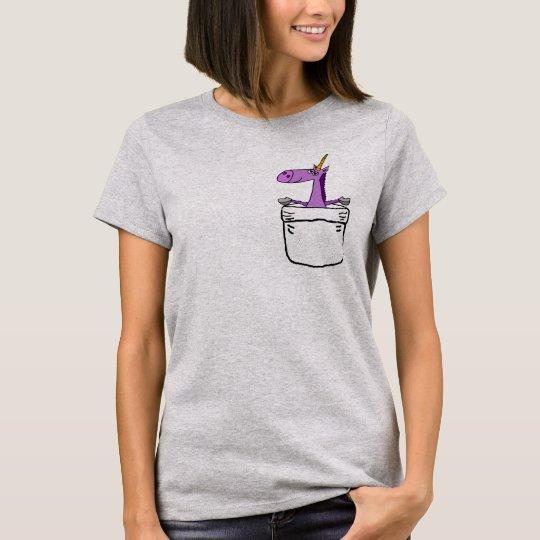 Funny Cute Purple Unicorn in a Pocket Shirt