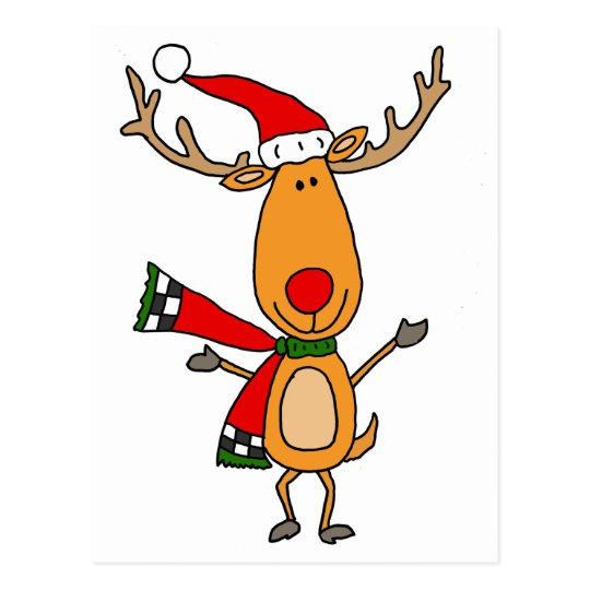 Funny Cute Rudolph Red-Nosed Reindeer Postcard