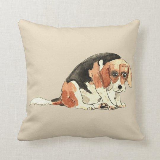 Funny Cute Sad Beagle Watercolour Dog Art Design Cushion