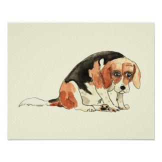 Funny Cute Sad Beagle Watercolour Dog Art Design Poster