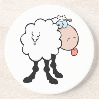 funny cute sheep sticking tongue out from behind coaster