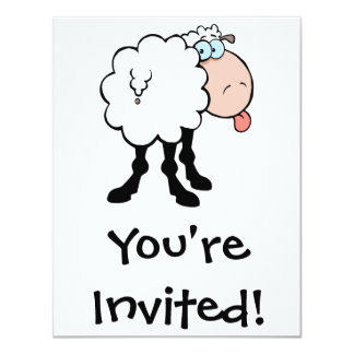 funny cute sheep sticking tongue out from behind personalized invitations