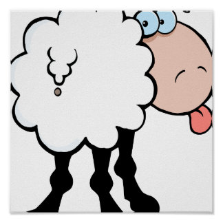 funny cute sheep sticking tongue out from behind poster