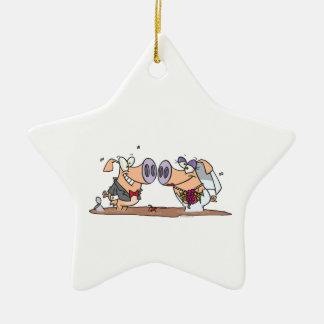 funny cute silly wedding pigs bride groom ceramic star decoration