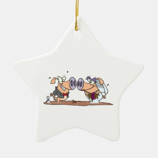 funny cute silly wedding pigs bride groom christmas tree ornament