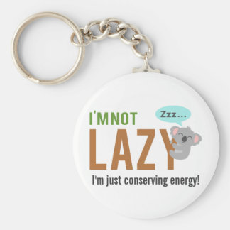 Funny Cute Sleeping Koala Bear Not Lazy Quote Basic Round Button Key Ring