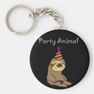 Funny Cute Sloth Party Animal Key Ring