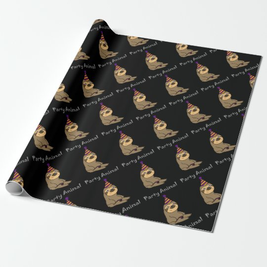 Funny Cute Sloth Party Animal Wrapping Paper