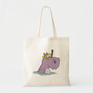 funny cute snorkeling swimming hippo budget tote bag