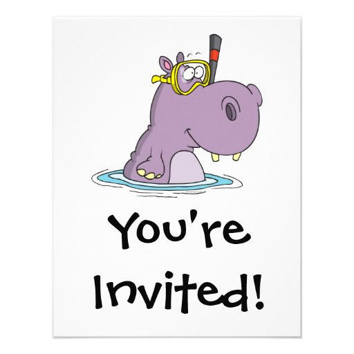 funny cute snorkeling swimming hippo custom announcement