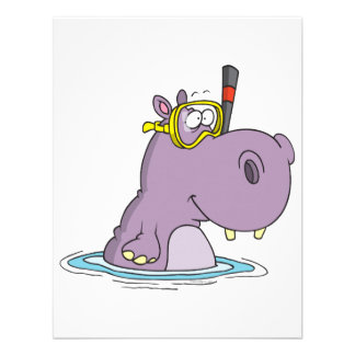 funny cute snorkeling swimming hippo personalized announcement