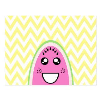 Funny Cute Watermelon Face Postcard